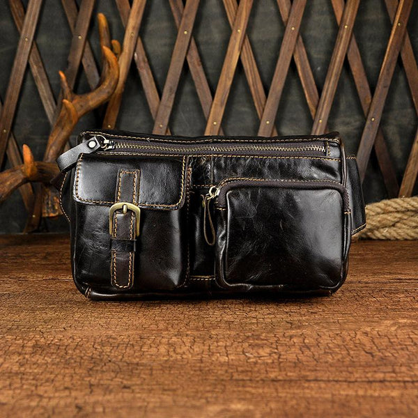 LEATHER MENS FANNY PACK WAIST BAG HIP PACK BELT BAG MEN