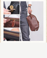 Large Black Leather Mens Brown Clutch Bag Zipper Wristlet Bags Purse for Men