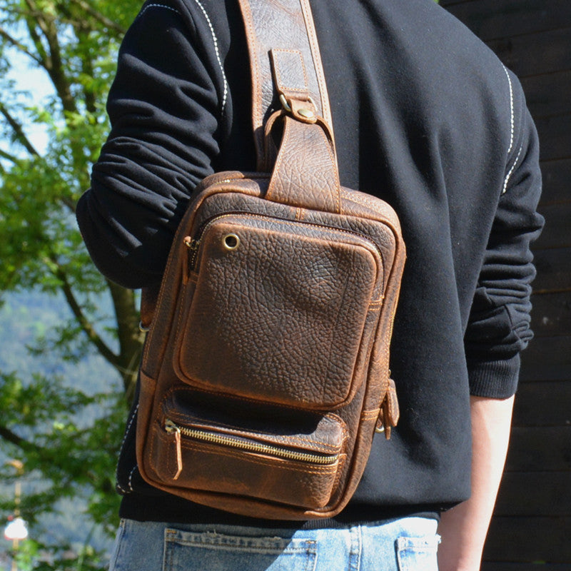 good out x reliable quality outlet for sale Cool MENS LEATHER CHEST BAGS SLING BAGs ONE SHOULDER BACKPACK FOR MEN