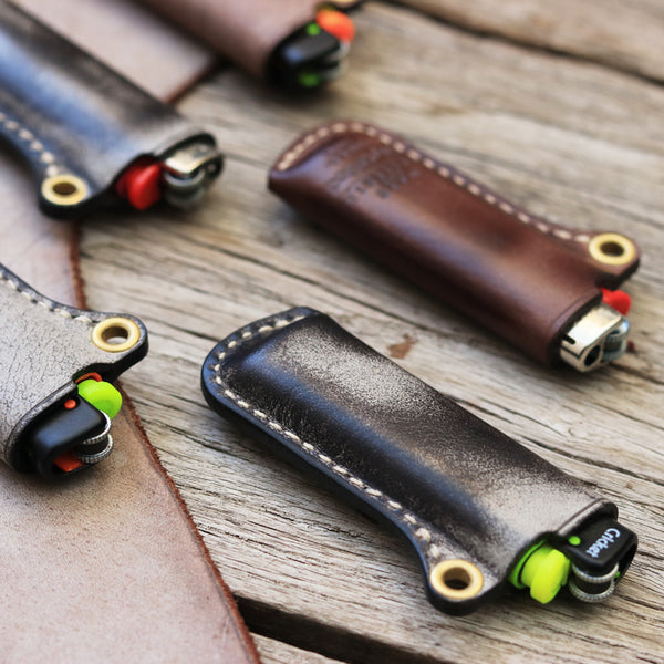 Leather Bic Lighter Case Leather Cricket Lighter Holder with strap Leather Lighter Covers For Men