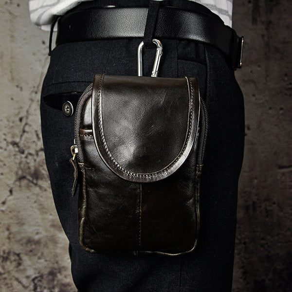 Leather Belt Pouch Mens Waist Bag Small Case for Men