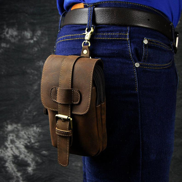 Vintage Leather Cigarette Cases Belt Pouches for Men Waist Bag BELT BAG For Men