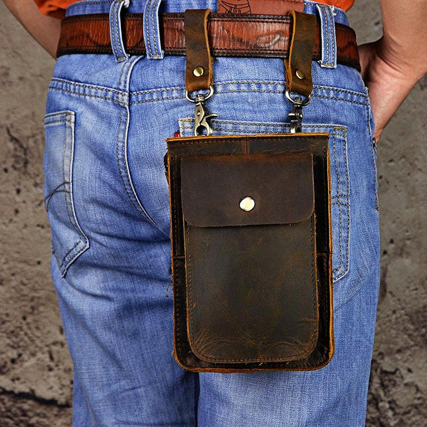 Leather Belt Pouch for Men Waist Bags Cell Phone Holsters BELT BAG Shoulder Bags For Men