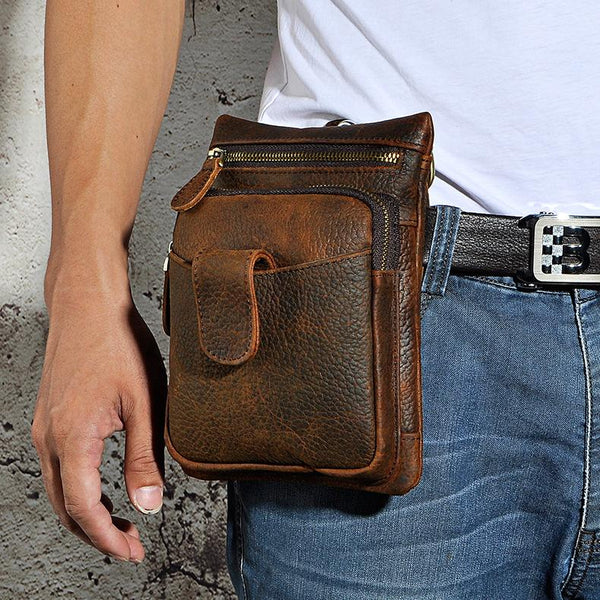 Leather Mens Belt Pouches Cell Phone Holsters Waist Bag BELT BAG Shoulder Bag For Men