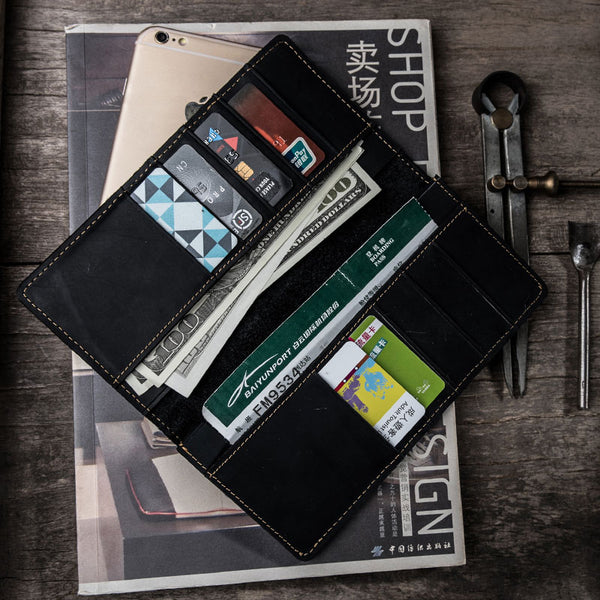 Leather Long Wallets for Men Travel Wallet Passport Bifold Wallet for Men