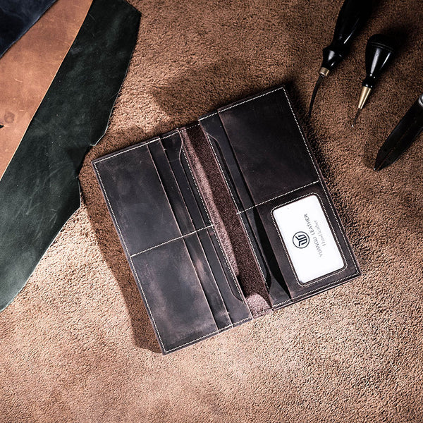 Leather Long Wallets for men Bifold Vintage Men Long Wallet