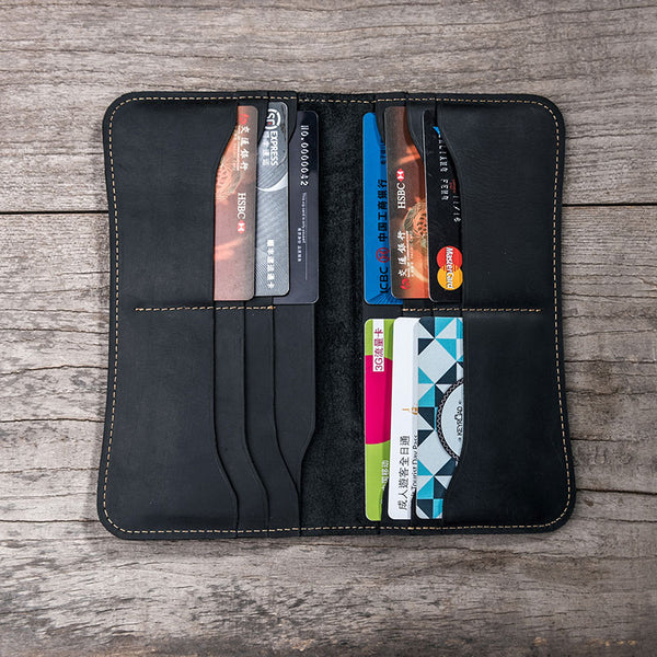 Leather Long Wallets for men Black Bifold Men Long Wallet