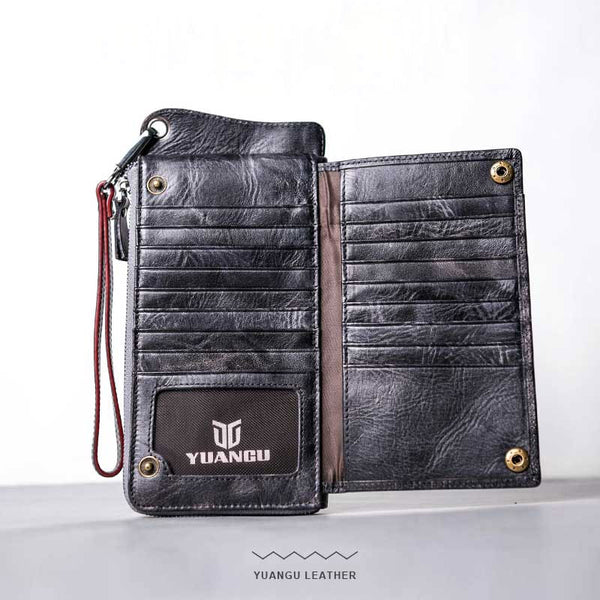 Leather Long Wallets for men Chain Wallet Bifold Vintage Men Biker wallet