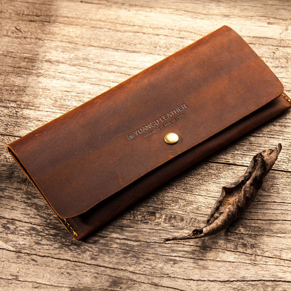 Leather Long Wallets for men Slim Bifold Vintage Men Long Wallet