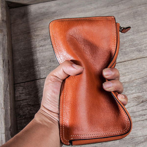 Leather Long Wallets for men Zipper Bifold Vintage Men Long Wallet