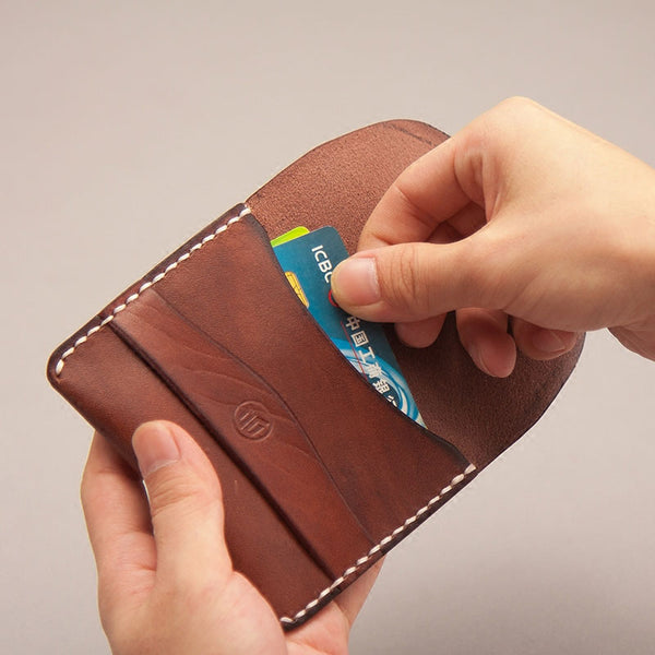 Leather Men Card Holder Wallet Change Small Wallet for Men