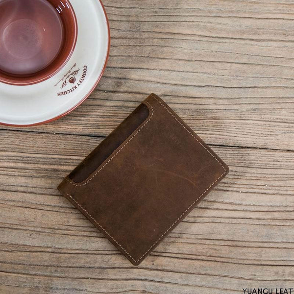 Leather Men Slim Small Wallet Bifold Small Vintage Wallet for Men