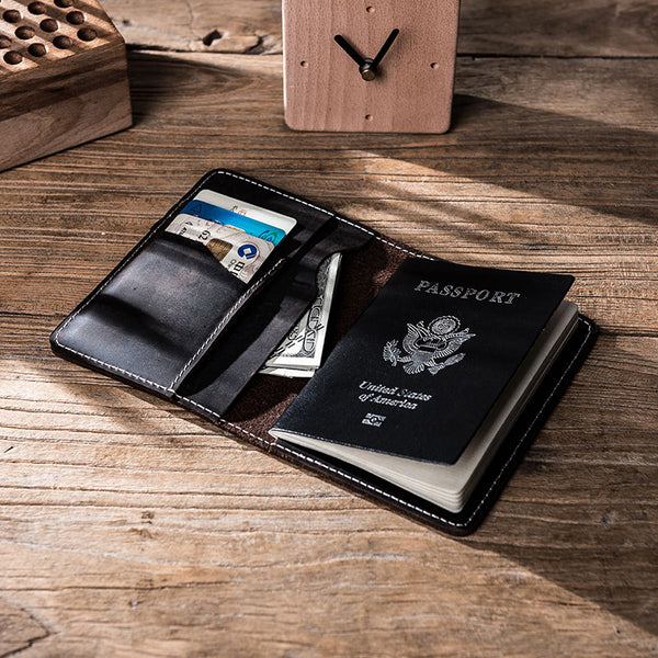 Leather Men Small Slim Travel Wallet Passport Wallet Bifold Small Wallets for Men