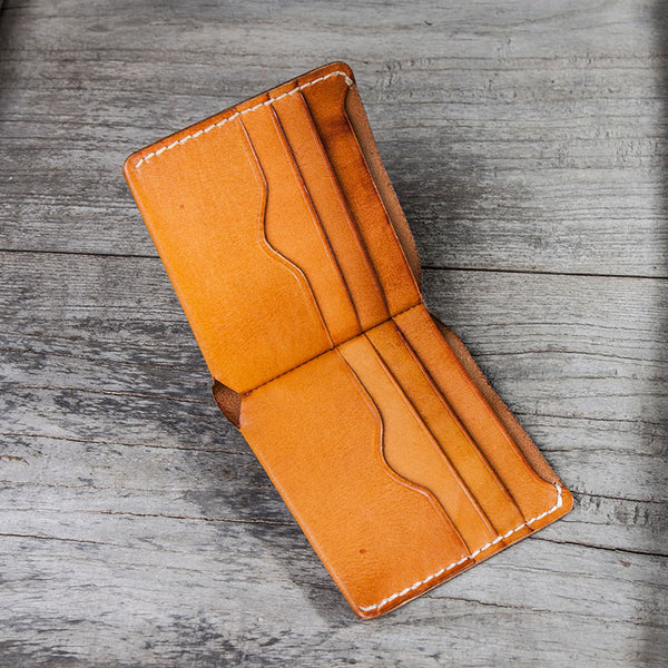 Leather Men Small Wallet Bifold Vintage Wallet for Men
