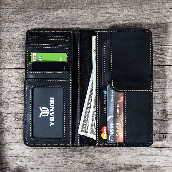 Leather Men Travel Wallet Passport Wallet Bifold Long Wallets for Men