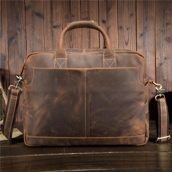 Cool Leather Men Vintage Briefcase Handbag Shoulder Bags Work Bag For Men