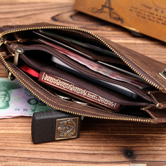 Leather Men Zipper Wristlet Wallet Clutch Long Wallets for Men