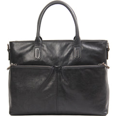 Leather Mens Black Briefcase Shoulder Bag Handbag Laptop Bag Work Bag Business Bag for Men