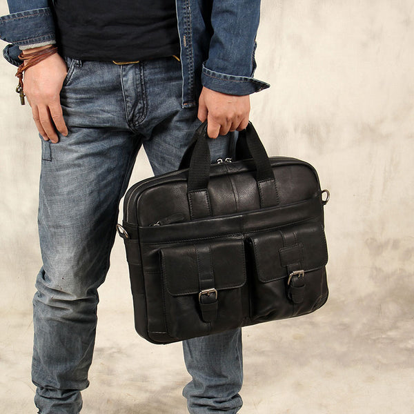 Leather Mens Black Briefcase Shoulder Bag Handbag Work Bag Business Bag for Men