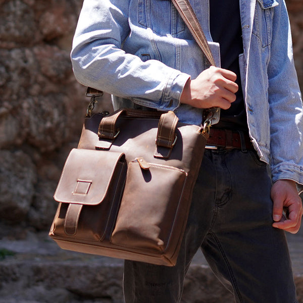 Leather Mens Briefcase Handbag Shoulder Bag Work Bag Business Bag for Men