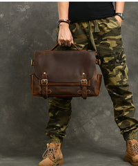 Leather Mens Brown Briefcase 12'' Laptop Briefcase Crossbody Side Bag Shoulder Bag For Men