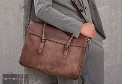 Leather Mens Brown Briefcase Handbag Shoulder Bag Work Bag Business Bag for Men