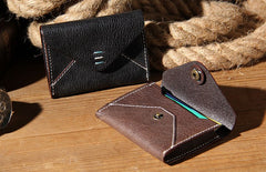Leather Mens Card Wallet Black Small Card Wallet for Men