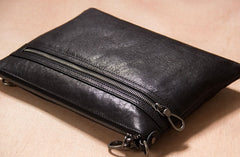 Leather Mens Clutch Wristlet Bag Black Shoulder Bag Zipper Clutch for Men