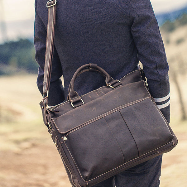 Leather Mens Coffee Briefcase Shoulder Bag Handbag Work Bag Laptop Bag Business Bag for Men