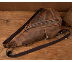 Leather Mens Cool 10 inches Sling Bag Crossbody Bag Chest Bag for men