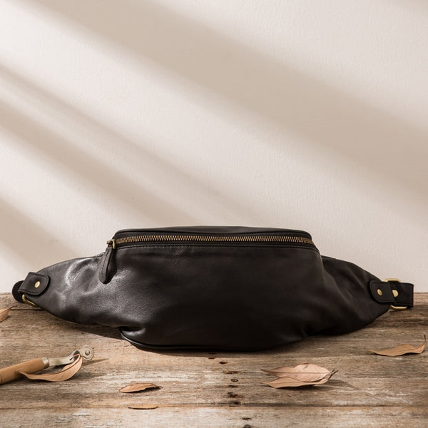 Leather Mens FANNY PACK MENS WAIST BAG HIP PACK BELT BAG FOR MEN