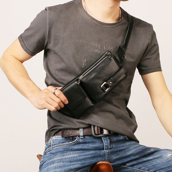 Leather Mens Fanny Pack Mens Waist Bag Hip Pack Belt Bag