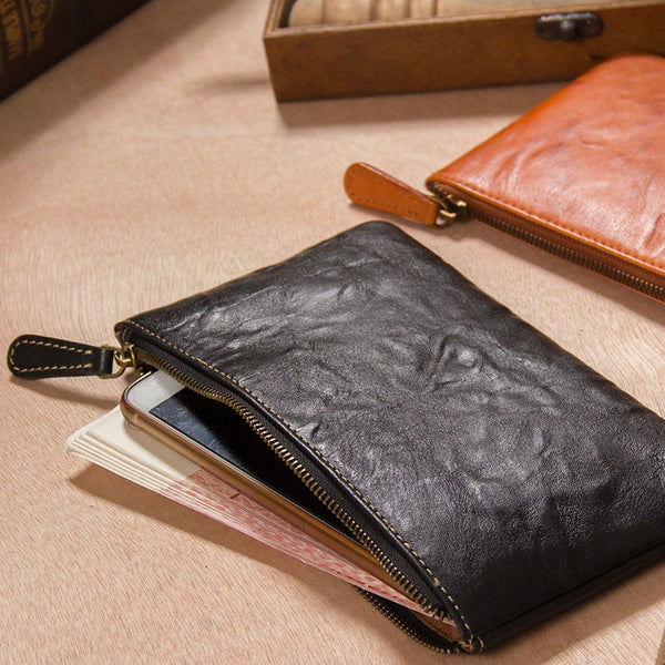 Leather Mens Slim Clutch Wristlet Bag Zipper Clutch for Men