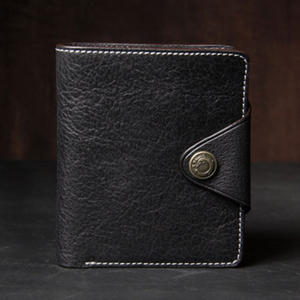 Leather Mens Slim Short Leather Wallet Men Small Wallets Bifold for Men