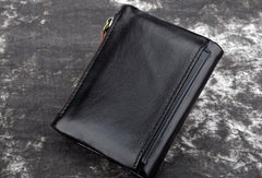 Cool Leather Mens Zip Wallet Short Slim Bifold Wallet Card Wallet for Men
