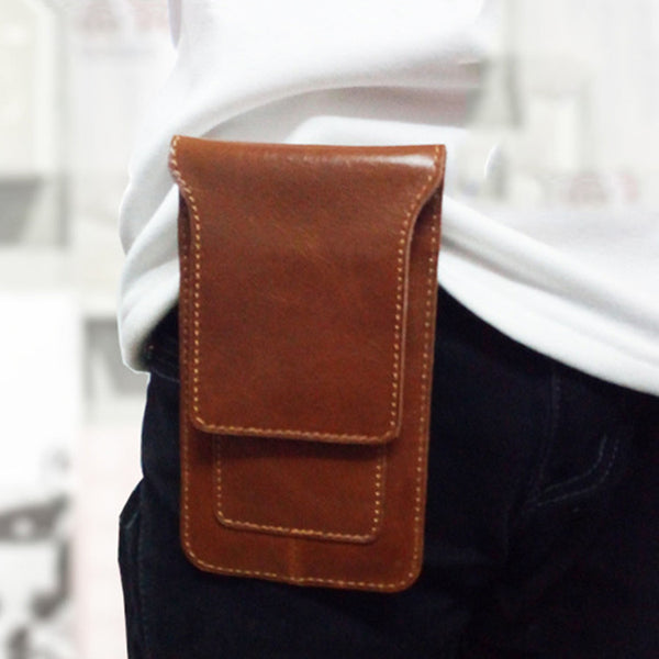 Leather Slim Belt Pouch Mens Small Cases Waist Bag for Men