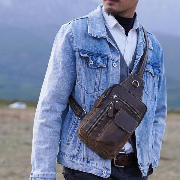 Leather Sling Bag for Men Crossbody Bag Chest Bag for men