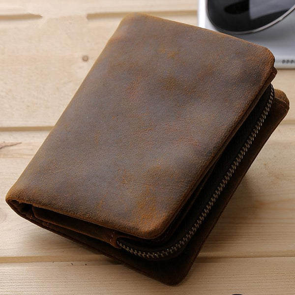 Leather Small Mens Wallet Slim Vintage Bifold Wallet for Men