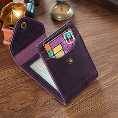Leather Small Mens Wallet Zipper Short Front Pocket Wallet Driver's License Card Wallet for Men