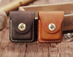 Handmade Light Brown  Leather Mens Zippo Lighter Case With Belt Loop Zippo  Standard Lighter Holders For Men