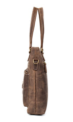 Casual Brown Leather 12 inches Shoulder Briefcase Work Bags Tote Bags for Men