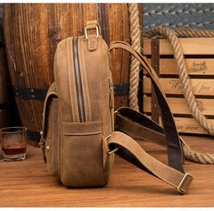 Fashion Light Brown Mens Leather 12-inch Small Backpacks Travel Backpack School Backpacks for men