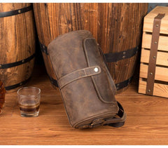 Cool Mens Brown Leather Small Barrel Messenger Bag Bucket Courier Bags for Men