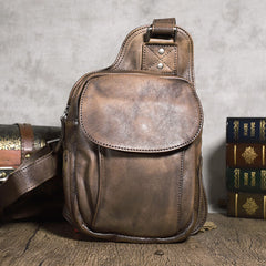 Brown MENS Vintage LEATHER Sling Bag Chest Bag Gray One Shoulder Backpack For Men