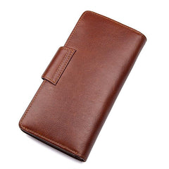 Brown Leather Long Wallet for Men Bifold Long Wallet Brown Multi-Card Wallet For Men