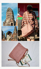 Canvas Womens Mens Pink Leather Large Messenger Bag Courier Bag Green Postman Bag for Men Women