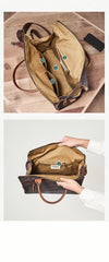 Mens Green Canvas Leather 14inch Black Briefcase Handbag Work Bag Business Side Bag for Men