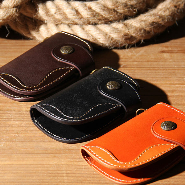 Mens Cool Key Wallet Handmade Leather Car Key Card Holder Car Key Case for Men