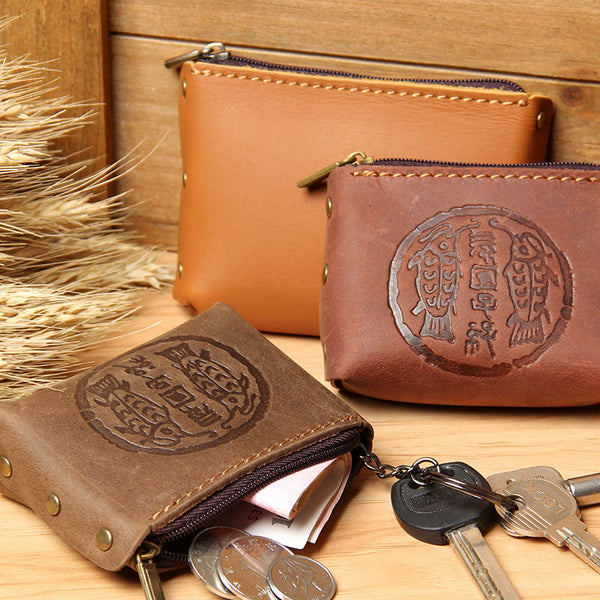 Mens Small CHange Wallet Pouch Leather With Key Card Holder Car Key Case for Men