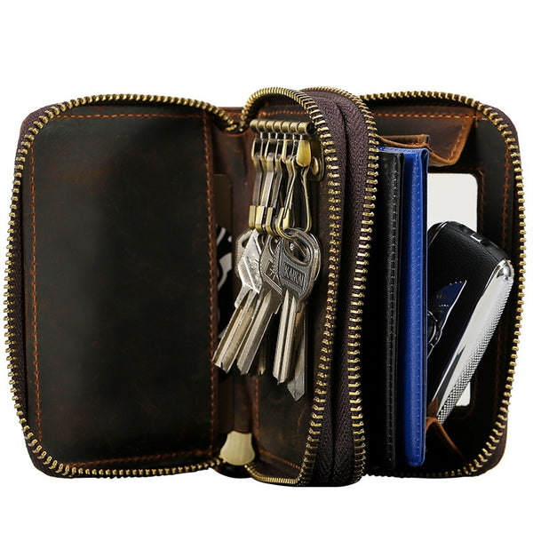 Cool Mens Double Zipper Leather Key Wallet Key Holder Car Key Holder For Men